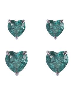 Kit 2 pares de brincos de metal prateado com pedra fusion turquesa Amme