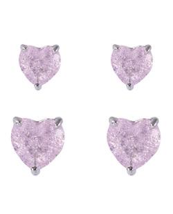 Kit 2 pares de brincos de metal prateado com pedra fusion rosa Amme