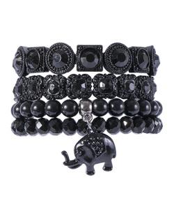 Kit 4 pulseiras de metal preto com pedra preta Nina