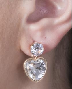 Brinco pequeno de metal dourado com pedra cristal Valentina