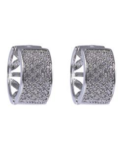 Argola de metal prateado com strass cristal Malu