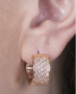 Argola de metal dourado com strass cristal Malu