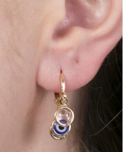Argola de metal dourado com olho grego e pedras rosa e cristal Ana