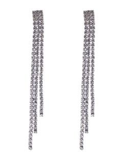 Maxi Brinco de metal prateado com strass cristal Sônia