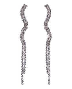 Maxi Brinco de metal prateado com strass cristal Elene