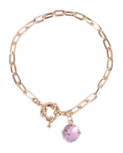 Pulseira de metal dourado com pedra rosa Bia