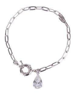 Pulseira de metal prateado com pedra cristal Lia