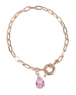 Pulseira de metal dourado com pedra rosa Lia