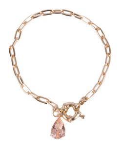 Pulseira de metal dourado com pedra rosé Lia