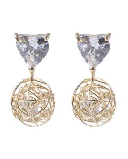 Brinco pequeno de metal dourado com pedra cristal Selena