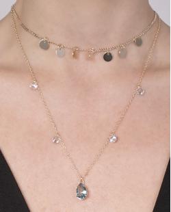 Kit 2 colares de metal dourado com pedra azul Berenice