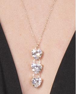 Kit 3 colares de metal dourado com pedra cristal Core