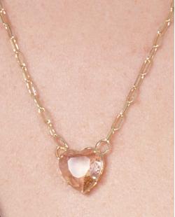 Colar de metal dourado com pedra rosé Agnes