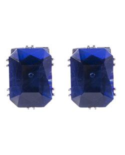 Brinco pequeno de metal prateado com pedra azul Giovana