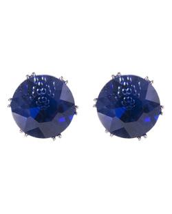 Brinco pequeno de metal prateado com pedra azul Marília