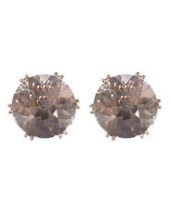 Brinco pequeno de metal dourado com pedra cristal Marília
