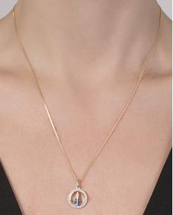 Colar folheado de metal dourado com strass cristal e azul Aparecida