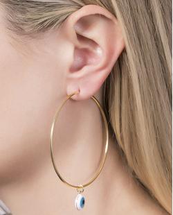 Argola folheada de metal dourado com olho grego Catarina