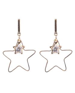 Brinco de metal dourado com pedra cristal Star