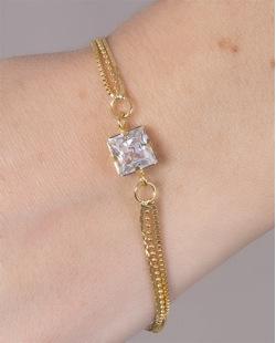 Pulseira de metal dourado com pedra cristal Pilar