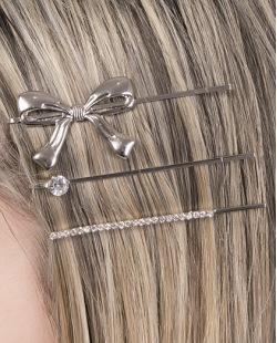 Kit 3 presilhas de metal prateado com strass cristal Graziela