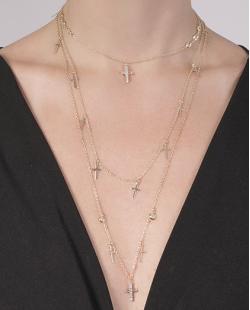 Kit 3 colares de metal dourado com pedra cristal Iris