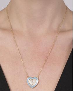 Colar de metal dourado com azul e strass cristal Ayla