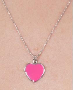 Kit 3 colares de metal prateado com pink Ully