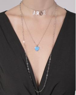 Kit 3 colares de metal prateado com azul Ully