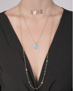 Kit 3 colares de metal dourado com azul Ully
