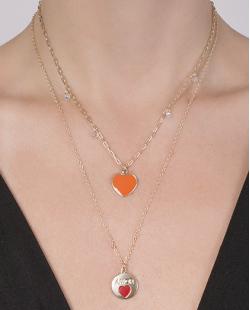 Kit 2 colares de metal dourado com laranja Aisha