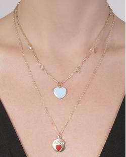 Kit 2 colares de metal dourado com azul Aisha