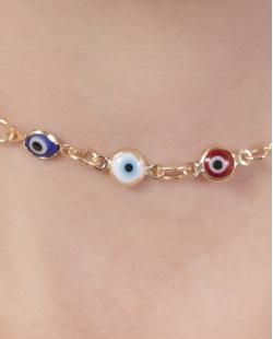 Gargantilha choker de metal dourado com olho grego Filipa