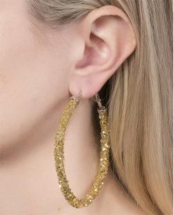 Argola de metal prateado com strass dourado Mauren