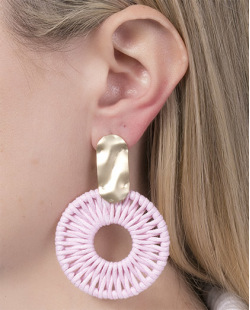 Maxi Brinco de metal dourado com corda rosa Alissa