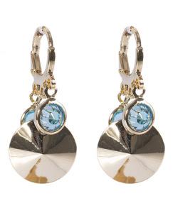 Argola de metal dourado com pedra azul Simara
