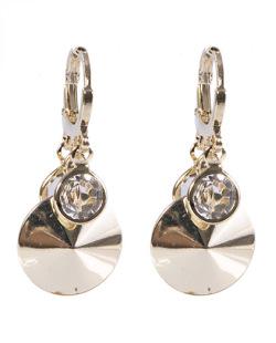 Argola de metal dourado com pedra cristal Simara