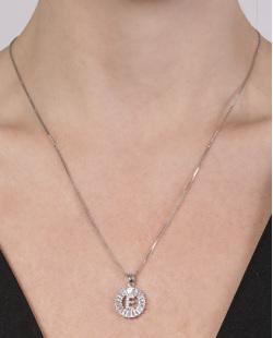 Colar de metal prateado com strass cristal Elvira