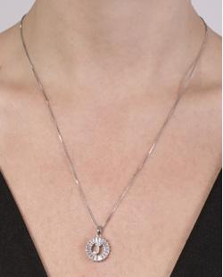 Colar de metal prateado com strass cristal Joana