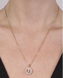 Colar de metal dourado com strass cristal Joana