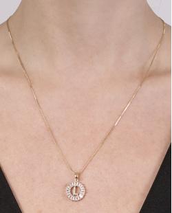 Colar de metal dourado com strass cristal Laura