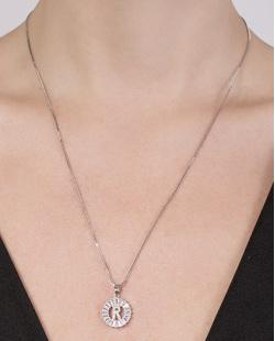 Colar de metal prateado com strass cristal Rafaela