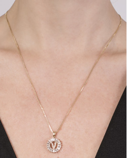 Colar de metal dourado com strass cristal Vitória