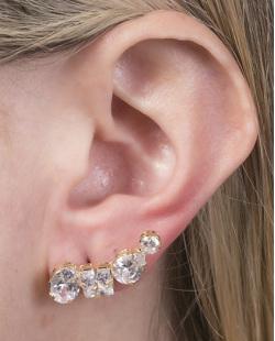 Ear cuff folheado de metal dourado com pedra cristal Marlene