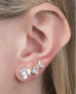 Ear cuff folheado de metal dourado com pedra cristal Valentina
