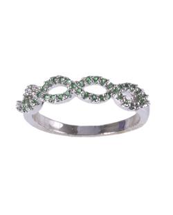 Anel de metal prateado com strass verde Aurora