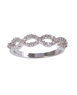 Anel de metal prateado com strass cristal Aurora