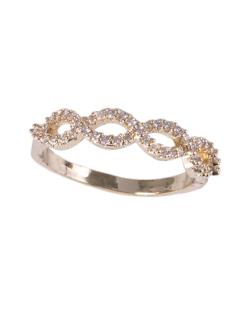 Anel de metal dourado com strass cristal Aurora