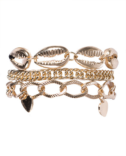 Kit 3 pulseiras de metal dourado Ana Clara