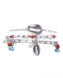 Kit 3 pulseiras de metal prateado com pedras azul e vermelha Anne